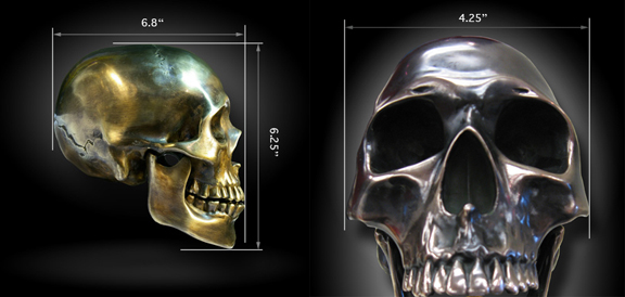 Cast glass Skull & Dimensions