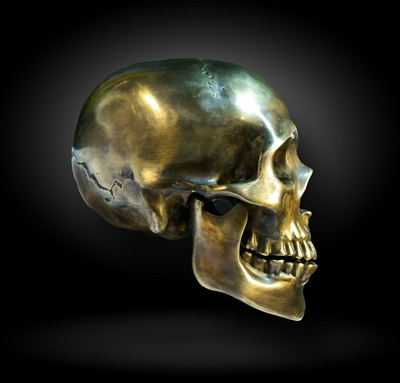 Sculptured Bronze Skull