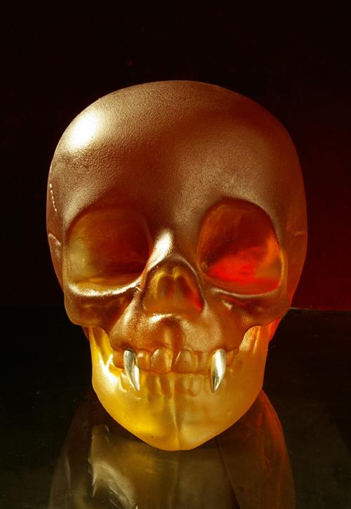 Lead Crystal Vampire Skull
